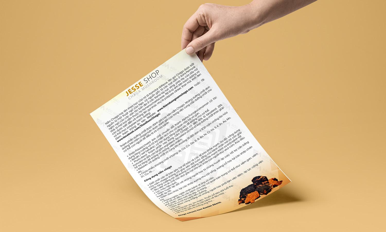 Tem giấy sản phẩm nhận diện thương hiệu Nấm Chaga