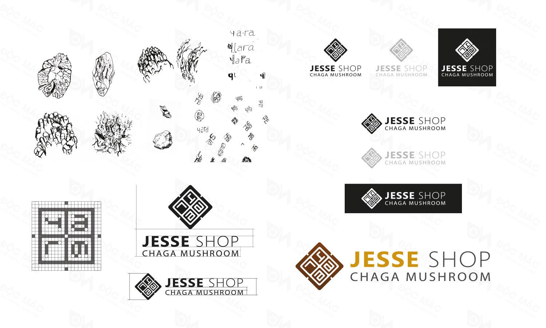 Maket logo nhận diện thương hiệu Nấm Chaga