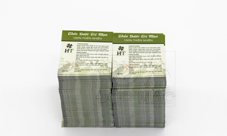 Tem và hộp giấy nhận diện thương hiệu thảo dược trị mụn HT