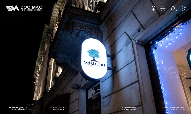 Hộp đèn thiết kế nhận diện thương hiệu Sơn nước Mầu Linh